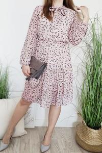 Różowa sukienka Luashop.pl w stylu casual z długim rękawem