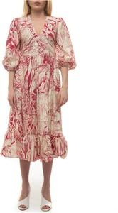 Sukienka Red Valentino z długim rękawem z bawełny z dekoltem w kształcie litery v