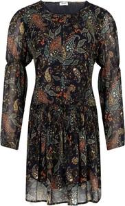 Sukienka Liu-Jo rozkloszowana z okrągłym dekoltem z długim rękawem