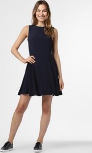 Granatowa sukienka Aygill`s rozkloszowana bez rękawów z okrągłym dekoltem