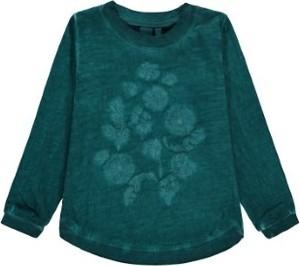 Zielona bluzka dziecięca Kanz z bawełny z długim rękawem w kwiatki