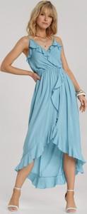 Niebieska sukienka Renee z dekoltem w kształcie litery v