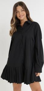 Czarna sukienka born2be z tkaniny koszulowa w stylu casual