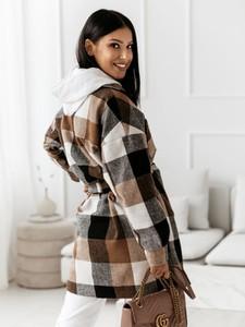 Brązowy płaszcz Cocomore z wełny w stylu casual