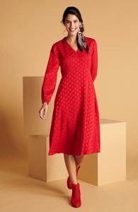 Sukienka Cellbes z długim rękawem z tkaniny z dekoltem w kształcie litery v