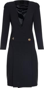 Czarna sukienka Elisabetta Franchi z długim rękawem