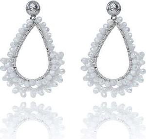 POLSKA Dekoracyjne ślubne kolczyki w stylu Glamour białe