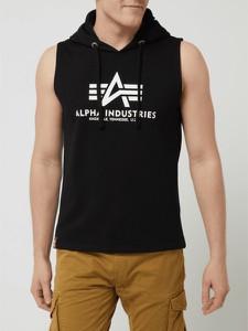Czarny t-shirt Alpha Industries w młodzieżowym stylu z dresówki