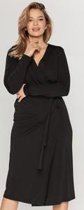 Czarna sukienka Bialcon midi z długim rękawem