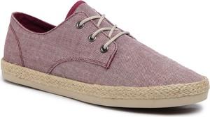 Czerwone buty letnie męskie eobuwie.pl z tkaniny sznurowane