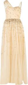 Złota sukienka Pinko z dekoltem w kształcie litery v gorsetowa maxi