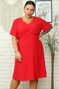 Czerwona sukienka KARKO mini w stylu casual z dekoltem w kształcie litery v