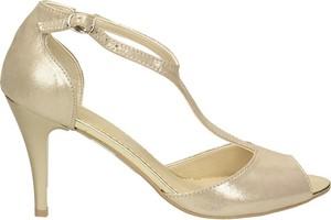 Złote sandały Darbut w stylu klasycznym na obcasie