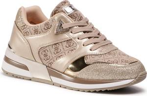 Złote buty sportowe eobuwie.pl na platformie sznurowane