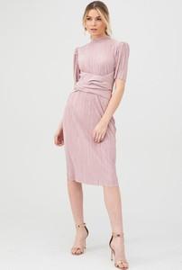 Sukienka V by Very midi z okrągłym dekoltem z długim rękawem