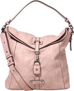 Różowa torebka Tamaris duża ze skóry
