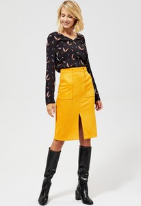 Żółta spódnica Moodo z zamszu midi
