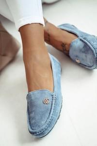 Niebieskie półbuty Shopaholics Dream z płaską podeszwą w stylu casual
