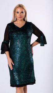 Zielona sukienka Moda Dla Ciebie dla puszystych z długim rękawem