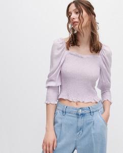 Fioletowa bluzka Reserved z okrągłym dekoltem z długim rękawem w stylu casual