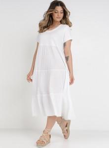 Sukienka born2be z okrągłym dekoltem z krótkim rękawem