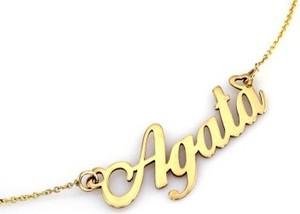 Lovrin Złoty naszyjnik 585 celebrytka z imieniem Agata 2,54 g