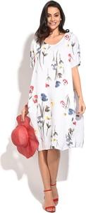 Sukienka Le Jardin Du Lin z okrągłym dekoltem z krótkim rękawem