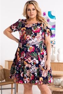 Sukienka KARKO mini z krótkim rękawem z okrągłym dekoltem