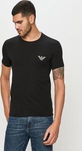 Czarny t-shirt Emporio Armani w stylu casual z krótkim rękawem z dzianiny