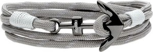 Manoki BA773S bransoletka sznurkowa z kotwicą szara