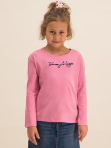Różowa bluzka dziecięca Tommy Hilfiger z długim rękawem