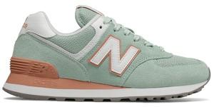 07f33d2f12e86 Miętowe buty sportowe New Balance sznurowane w sportowym stylu z zamszu