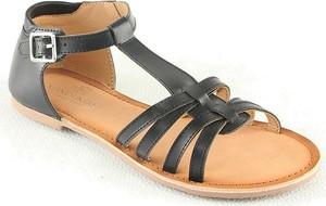Sandały Manoukian Shoes ze skóry z płaską podeszwą