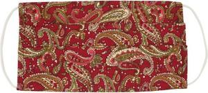 Czerwona Antywirusowa Maseczka Ochronna, Bawełniana -ALTIES- Wielorazowa, Uniwersalna, Wzór Paisley MASALTS0020