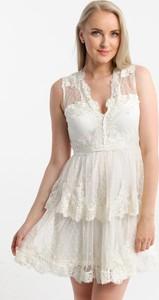 Sukienka Butik Ecru mini z dekoltem w kształcie litery v