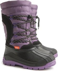 Fioletowe buty dziecięce zimowe Demar z wełny sznurowane