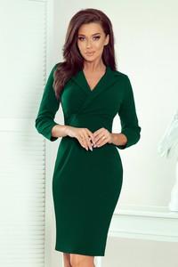 Zielona sukienka NUMOCO z dekoltem w kształcie litery v midi z długim rękawem