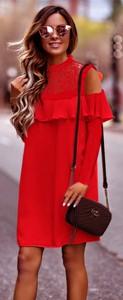 Czerwona sukienka Estera z długim rękawem