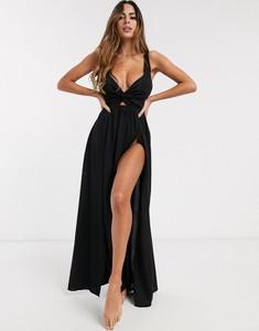 Czarna sukienka Asos na ramiączkach oversize