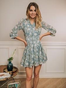 Niebieska sukienka Promese z długim rękawem mini