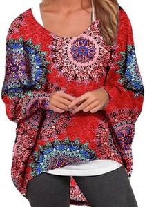 Bluzka Cikelly w geometryczne wzory z okrągłym dekoltem