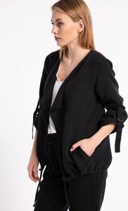 Czarna kurtka Cotton Club krótka z lnu w stylu casual