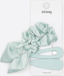 Sinsay - Spinki i gumka do włosów - Turkusowy