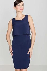 Niebieska sukienka Katrus z okrągłym dekoltem