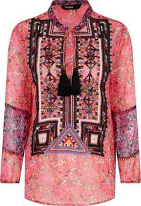Różowa bluzka Desigual ze sznurowanym dekoltem