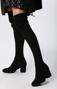 Czarne kozaki born2be za kolano w stylu casual