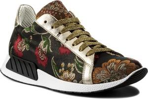 Buty sportowe hego's milano na koturnie ze skóry ekologicznej sznurowane