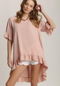 Różowa bluzka Renee z okrągłym dekoltem z krótkim rękawem