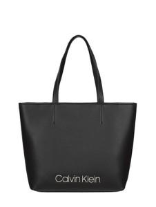 Czarna torebka Calvin Klein duża matowa na ramię