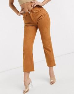 Brązowe jeansy Asos z zamszu